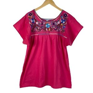 Women Vintage Flowers Embroidered Blouse
